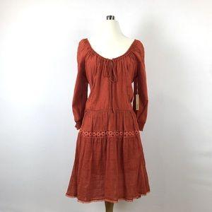 Of Two Minds Long sleeve midi dress Orange gypsy